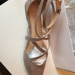 Lauren Conrad strappy flats in taupe suede. Size10